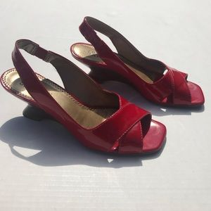 Franco Sarto Red Patten Leather Slingback Sandals